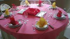 Kayla and Amber what do you think of this table set up. with all pink napkins? and not those chairs Round Tables, Table Set Up, Spice Things Up, Amber, Napkins, Table Settings, Chairs, Fan, Table Decorations