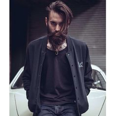 Ricki Hall - thick dark beard beards bearded man men mens' street style clothes model fashion #beardsforever