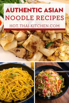 Noodle soups are the comfort food of Asia, and it's not hard to make at home! These are authentic recipes that will bring the streets of Asia to your home. With full video tutorials for all recipes you're guaranteed to be successful at creating these dishes. | easy noodle recipes| Video noodle Recipes| how to make authentic noodle recipes| Egg Noodle recipes| Rice noodle recipes| Glass noodle Recipes Noddle Recipes, Asian Noodle Recipes, Easy Asian Recipes, Fun Easy Recipes, Side Recipes, Thai Recipes, Vegetarian Recipes, Easy Weeknight Meals, Easy Meals