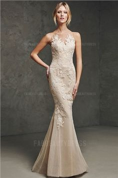 Trumpet Mermaid Sheer Neck Sleeveless Applique Floor-Length Tulle Dresses  at HerDress Online 46df23f510a9
