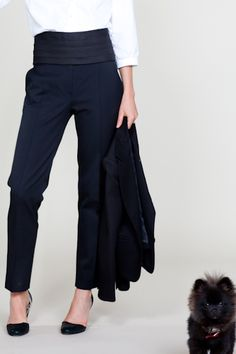 Not usually into the high-waisted thing but these cropped black tuxedo  pants are so cute.