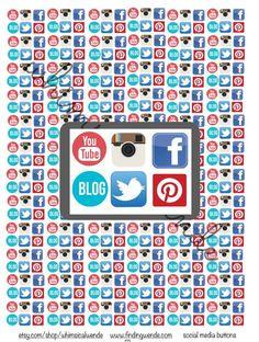 Printable Planner Stickers Social Media Logos- Instant Digital Download- Instagram Facebook Youtube Twitter Pinterest Blog by WhimsicalWende on Etsy