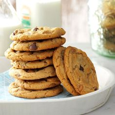 """Chippy Peanut Butter Cookies Recipe -""""Hey, these are good!"""" is the surprised remark I hear when I bake these for the family. As simple as it may seem, all I do is follow directions. This works exceptionally well when it comes to making cookies. —Ian Badeer, Hickman, Nebraska"""