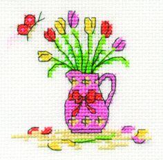 Another gorgeous free spring cross stitch design from DMC Creative World. Visit: http://www.dmccreative.co.uk/Inspiration/Projects/Light-Effects-Cross-Stitch/Tulips-and-Jug.aspx to download a free chart.