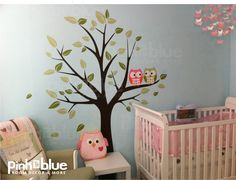 owl baby nurseries | Owl Tree Wall Decal Baby Nursery Owl Themed Wall by pinktoblue
