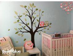 owl baby nurseries   Owl Tree Wall Decal Baby Nursery Owl Themed Wall by pinktoblue