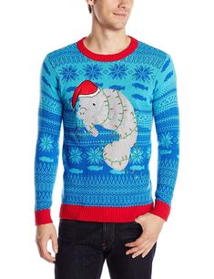 Men s Festive Manatee Ugly Christmas Sweater - Blue - CO124BXDFZP 1fe2c584e