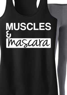 Look cute and fashionable at the Gym with this Workout Clothing! Featuring a MUSCLES  MASCARA Tank. By NoBullWomanApparel, $24.99 on Etsy. Click here to buy https://www.etsy.com/listing/183814126/muscles-mascara-workout-tank-top-black?ref=shop_home_active_18