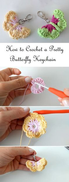 Crochet Butterfly Keychain - Design Peak Something like this but fandom relatedYou may already know how to crochet a butterfly but don't quite know how to use that skill. Well there are multiple decorative ways in which you can use bCrochet Mini Ba Beau Crochet, Crochet Puff Flower, Crochet Hook Set, Crochet Diy, Crochet Flower Patterns, Love Crochet, Crochet Gifts, Crochet Designs, Crochet Flowers