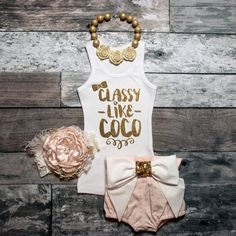 Classy Fashion Tank Gold Baby Girl Shirt by ShopVivaLaGlitter