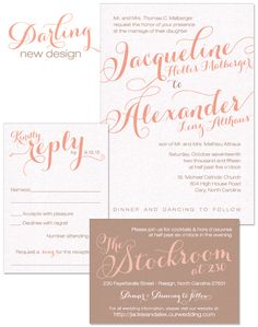Darling Wedding Invitation in Coral and Fawn | by The Green Kangaroo