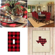 What's Red and Black and Checked All Over? Why Buffalo Plaid, of course! Buffalo plaid continues to pop up frequently in the fashion pages. Plaid Christmas, Christmas Ideas, Little Cowgirl, Lodge Decor, Inspired Homes, Xmas Tree, Dining Room Table, Fine Dining, Rustic Decor