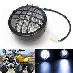 10,48€ - ENVÍO GRATIS - Faro LED Delantero con Rejilla 12V para Moto Quad ATV Buggy Color Negro