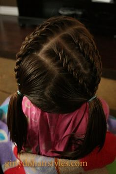 @Melissa Squires Squires Mudge!  Fun ideas for the girls!   Short Hair Braids & Piggies
