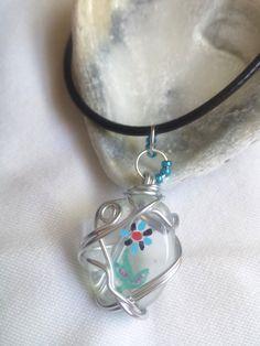 12.99unique hand painted sea glass pendant necklace