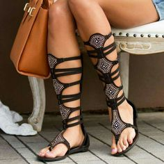 0722041d50bc Lelia Black Gladiator Sandals Rhinestone Strappy Comfortable Flats for  Party
