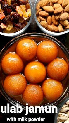 Milk Powder Gulab Jamun Recipe, Easy Gulab Jamun Recipe, Chaat Recipe, Gulab Jaman Recipe, Indian Dessert Recipes, Sweets Recipes, Cooking Recipes, Sweet Dishes Recipes, Healthy Indian Recipes