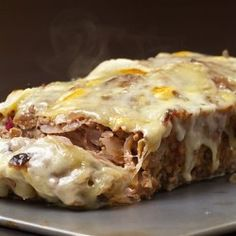 French Onion Meatloaf - NOTE: doubled recipe used 1/2 lean beef & 1/2 ground turkey, used 2 whole eggs.  Served w/roasted green beans tossed w/maple balsamic dressing.