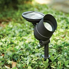 "Solar LED Spotlight  $32.95 This Solar LED Spotlight features a unique detachable solar panel. It lets you place the Spotlight in a shaded area while the solar panel, connected by a cable, can absorb sunlight up to 5 1/2' away on its own stake mount. The 7"" long ground stake keeps the Spotlight securely placed, even on a steep incline. Light up a dark area outside, or illuminate an address plaque or security sign in your landscaping."