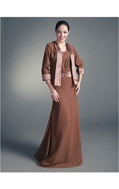 Sheath/ Column Square Floor-length Chiffon Mother of the Bride Dress With A Wrap
