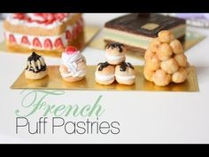 French Puff Pastries : French Pastries & Desserts Episode # 1 - Polymer Clay Tutorial - This is the first episode in a series of French foods, pastries, breads & desserts! French Puff Pastry, French Pastries, Puff Pastries, Barbie Food, Doll Food, Tiny Food, Fake Food, Profiteroles, Dessert Chef