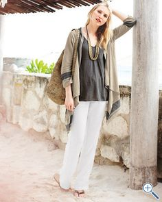 Relaxed Linen Drawstring Pants - the whole outfit says I work at home, then I go to the beach