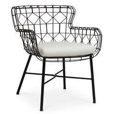"The Palecek Capri armchair delivers geometric glamour to modern spaces. A plush cushion tops this accent's black powder-coated steel frame, creating an airy, open outdoor furnishing. Muslin-wrapped polyurethane foam Sailcloth Salt white loose cushion; Suitable for and outdoor use; Wipe down with soft, dry cloth to clean; 25.5""W x 25""D x 32.25""H; Arm Front: 25""H; Seat: 20""H"