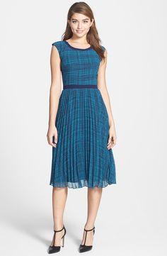 Halogen Print Sunburst Pleat Dress