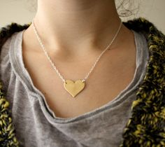 #Brass #Heart actually available here: https://www.etsy.com/listing/88558977/single-brass-heart-necklace-on-sterling