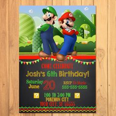 Super Mario Brothers Invitation Chalkboard * Super Mario Brothers Birthday * Mario Printables * Luigi Invite * Super Mario Party Favors by SometimesPie on Etsy https://www.etsy.com/listing/236504195/super-mario-brothers-invitation