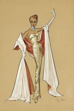 Bill Thomas original signed high fashion costume design sketches (colored pencil & gouache) for an unidentified production