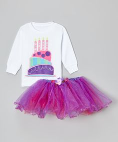 Another great find on #zulily! White Four Candles Top & Purple Tutu - Toddler & Girls by So Girly & Twirly #zulilyfinds