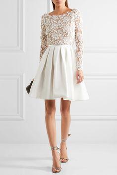 RIME ARODAKY Clover embroidered tulle and cady mini dress