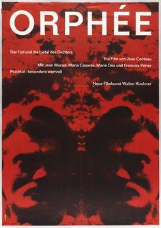 Hans Hillmann, film Poster Orpheus with Jean Marais, 2958.