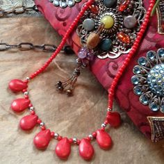 HPRed coral look stone necklace silvertone set Red coral look stone necklace earring set marbled penny size red teardrops with silvertone accent beadsHost Pick Laruesboutique vibrant summer style party 7/27/13 Jewelry