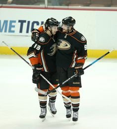Cute hockey hug between Bobby Ryan and Nick Bonino.