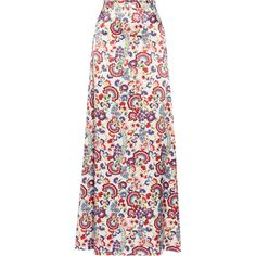 ALICE by Temperley Lou Lou floral-print satin maxi skirt ($245) ❤ liked on Polyvore
