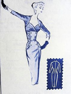 50s BOMBSHELL Slim Dress Pattern MODES ROYALE 1445 Evening Cocktail Party Dress Stunning Design B 32 Vintage Sewing Pattern Factory Folded