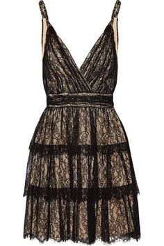 Alice Olivia - Olive Tiered Lace Mini Dress - Black - US