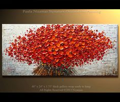 """ORIGINAL Painting 48"""" Large Abstract  Red Poppies Impasto Landscape Oil Painting by Nizamas 48x24 Ready to hang"""