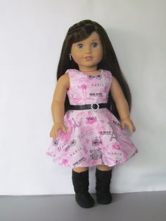 American Girl doll Paris print dress by MySewYouCreations on Etsy