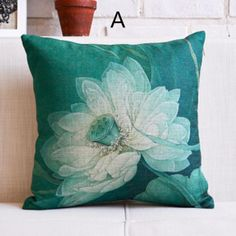 Chinese style Lotus pillow for home decor linen flower cushions 18 inch