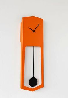 Buy online Aika By covo, pendulum wall-mounted clock design Ari Kanerva, not common things Collection Modern Cuckoo Clocks, Modern Clock, Orange Clocks, Pendulum Wall Clock, Interior Design Advice, Cool Clocks, Wall Clock Design, Orange Walls, Grandfather Clock