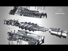 3D animation of screw compressor working principle - YouTube