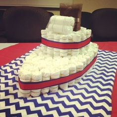 Boat Diaper Cake Tutorial for Nautical baby shower Creswell Creswell Creswell Bond Baby Shower Cakes, Baby Shower Diapers, Baby Shower Parties, Baby Shower Themes, Baby Boy Shower, Baby Shower Gifts, Shower Ideas, Baby Gifts, Work Baby Showers