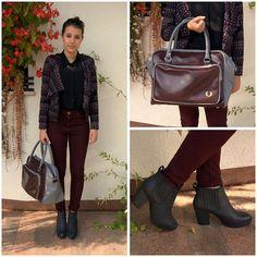 Topshop Highwasted Pants, H&M Blazer, Fred Perry Bag, Topshop Heels, Zara Shirt