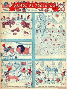Revista Medio Litro, Año I, Nº1, noviembre de 1948. Vamos al zoológico, por Landrú.