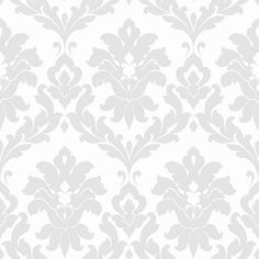 Norwall Plaza Damask Wallpaper - I love the idea of grey wallpaper with yellow accents!