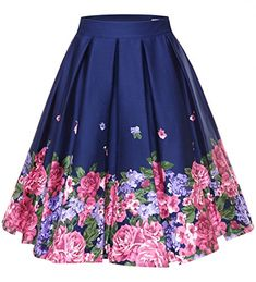 Floral Print Skirts Plus Size Big Swing Retro Skirt High Waisted Pleated Skirt Rockabilly Vintage Women Clothing Size S Color 4 Jupe Swing, Swing Skirt, Pleated Midi Dress, Pleated Skirts, Tutu Skirts, Chambray Skirt, Party Skirt, Plus Size Skirts, Retro Floral
