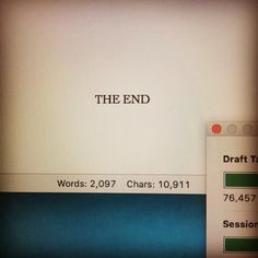That moment tho.  Draft #3 is done and ready for its first readers. And now I'm going to quietly sob in relief at finishing another book.  #amwriting #authorlife #writing #author #authorsofinstagram #theend #draft #book #manuscript #amrevising #amediting